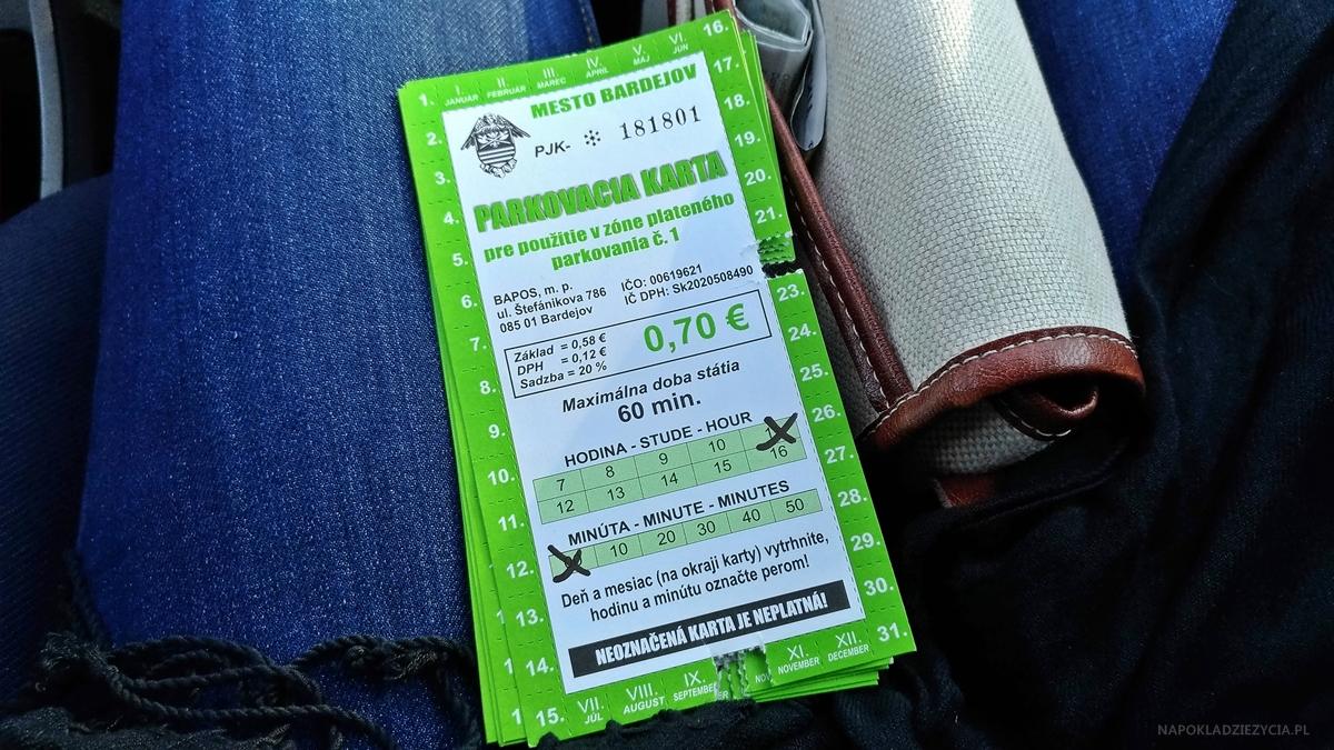 Bardejów, Słowacja: parking, opłata